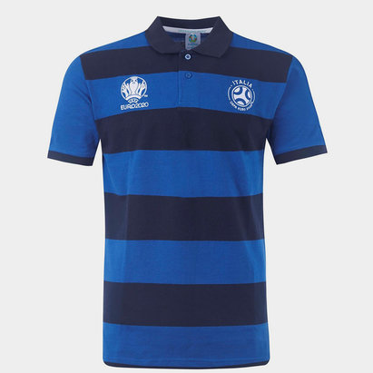 UEFA Italy Stripe Polo Shirt Mens