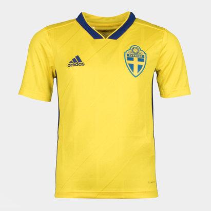 adidas Suecia 2018 Jóvenes Home M/C Réplica - Camiseta de Fútbol